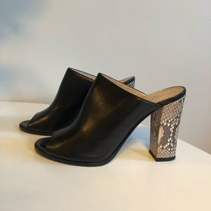 Club Monaco black leather mule pumps